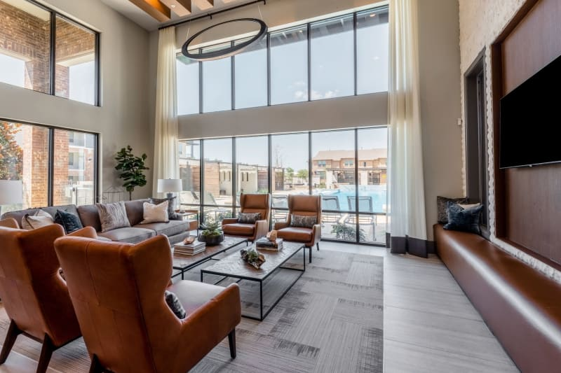 Full living room lounge for residents at Domain at Founders Parc in Euless, Texas