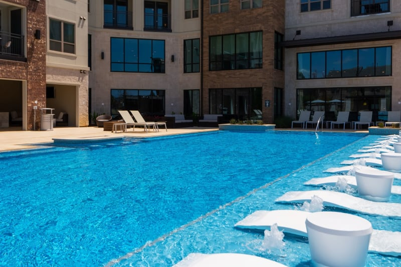 Large pool and fire pit at Domain at Founders Parc in Euless, Texas