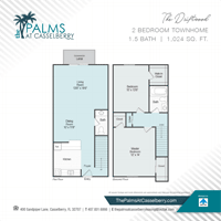 Two Bedroom, The Driftwood Townhome, at The Palms at Casselberry in Florida