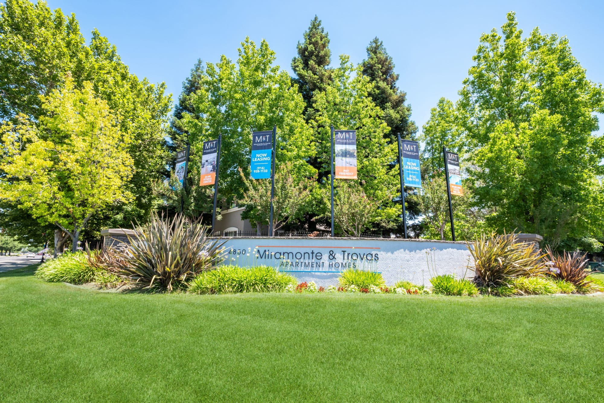 Monument Sign with Lush Landscaping at Miramonte and Trovas in Sacramento, California