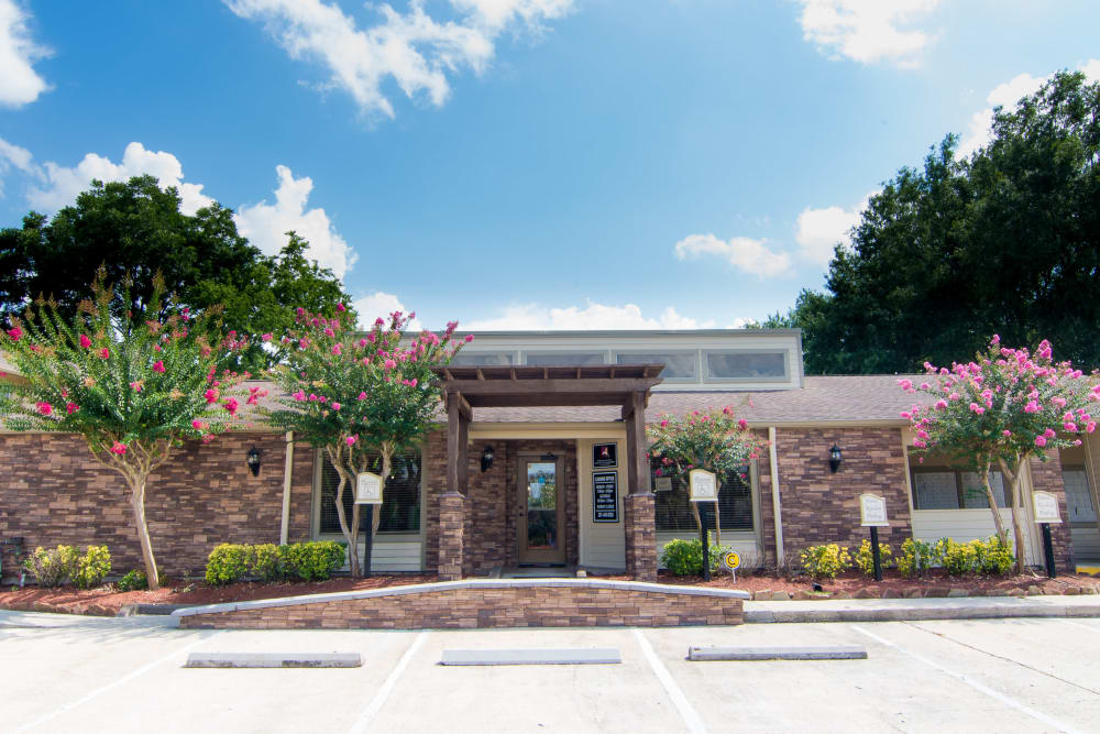 Leasing office entrance at Deerbrook Forest Apartments
