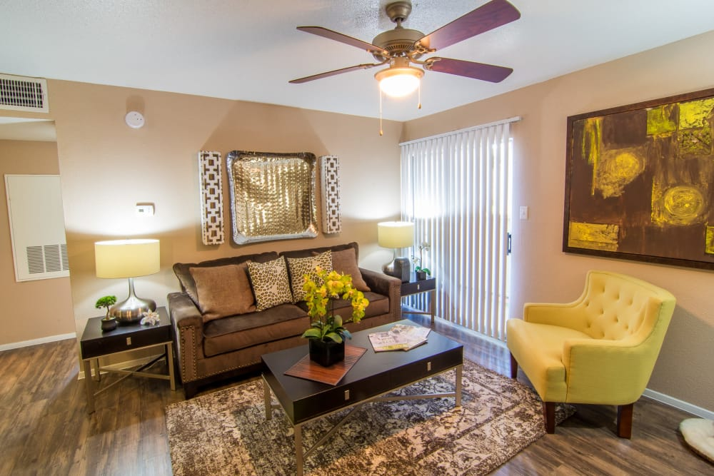Cozy living room at Deerbrook Forest Apartments