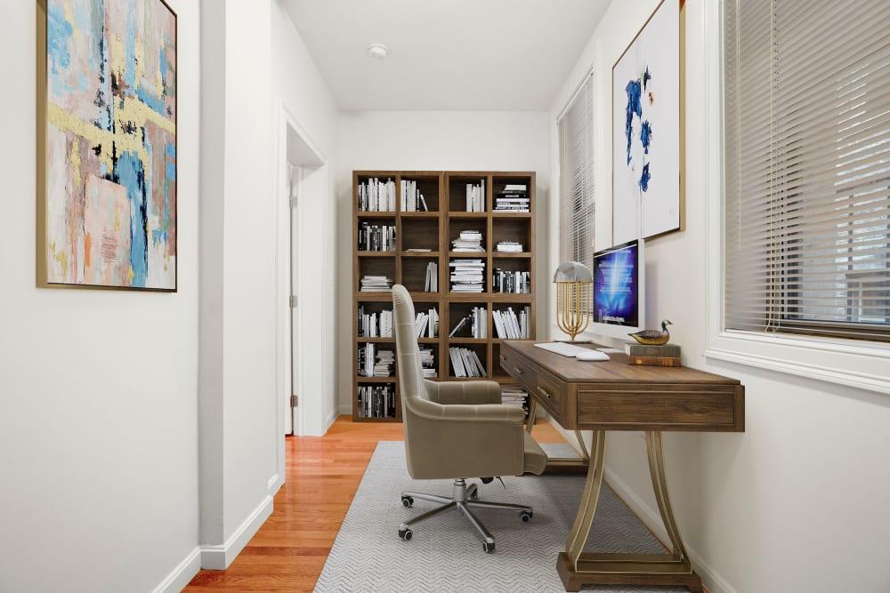 Living room at Burbank Apartments in Boston, Massachusetts