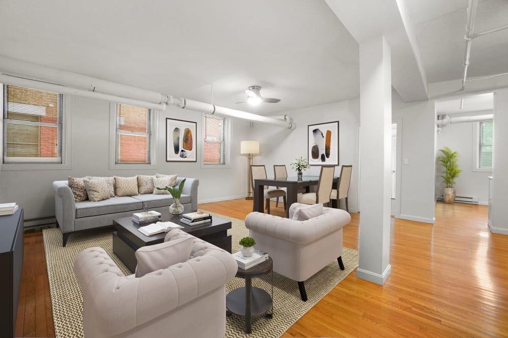 Living room at Burbank Apartments in Boston, Massachusetts