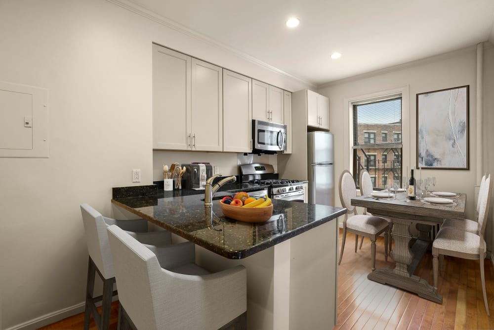 Dining area at Burbank Apartments in Boston, Massachusetts