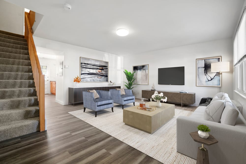 Living room at Stony Brook Commons in Roslindale, Massachusetts