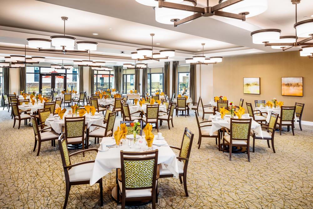 The resident dining room at Anthology of Mason in Mason, Ohio