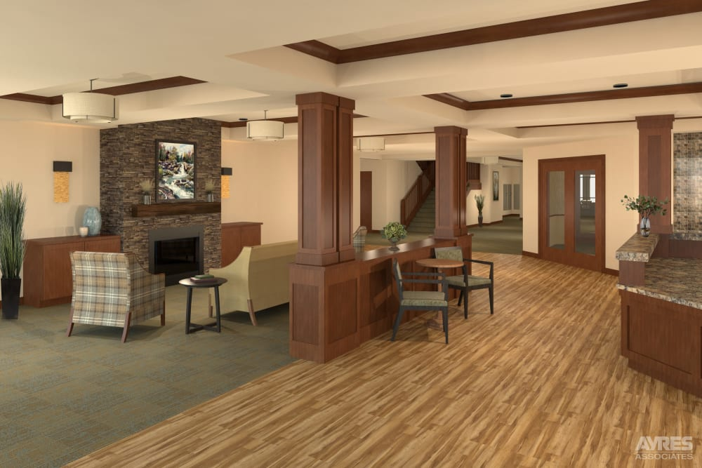 Main entry and lobby at Willows Landing in Monticello, Minnesota.