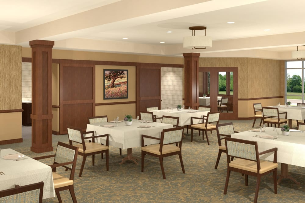 Resident dining room at Willows Landing in Monticello, Minnesota