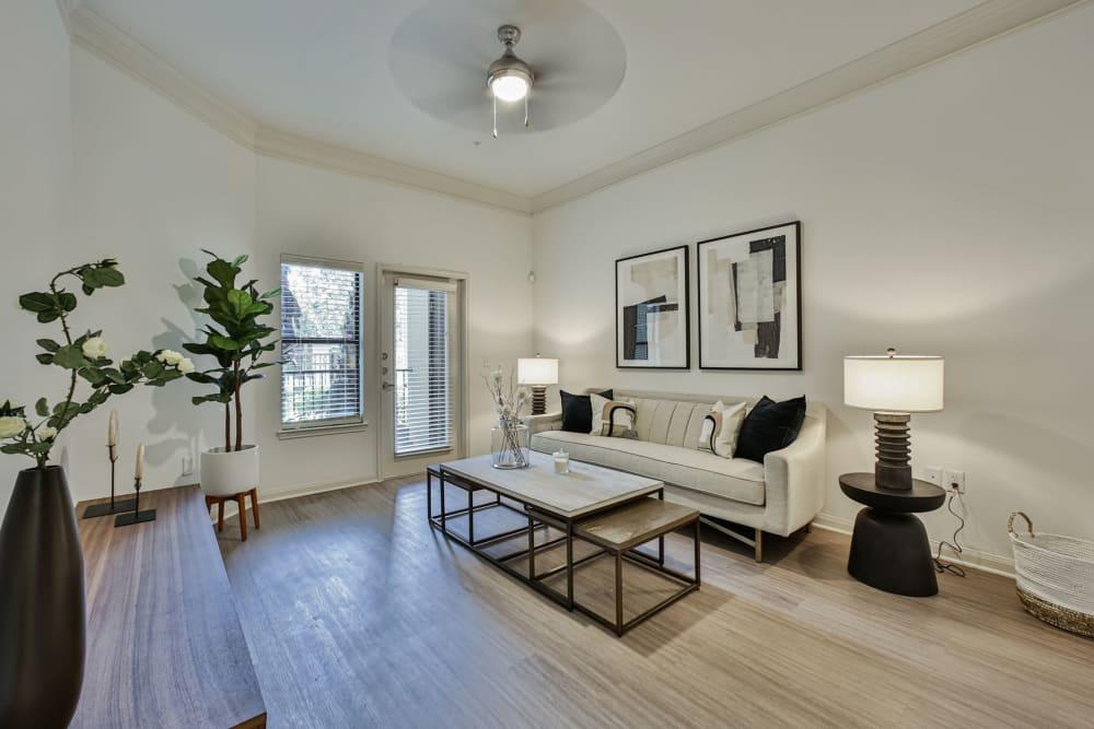 Living room with patio door at Broadstone Toscano in Houston, Texas