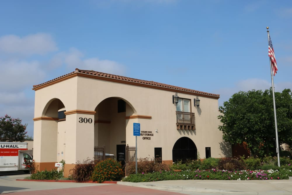 Front view of the leasing office at Golden State Storage - Camarillo in Camarillo, California