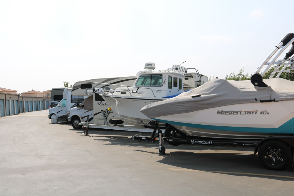 Boats and RVs parked at Golden State Storage - Camarillo in Camarillo, California