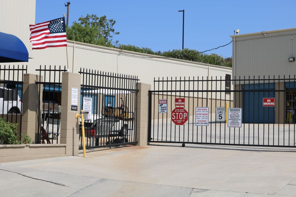 Iron security gate at the entrance of Golden State Storage - Golden Triangle