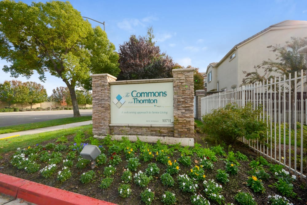 Main sign of The Commons on Thornton in Stockton, California