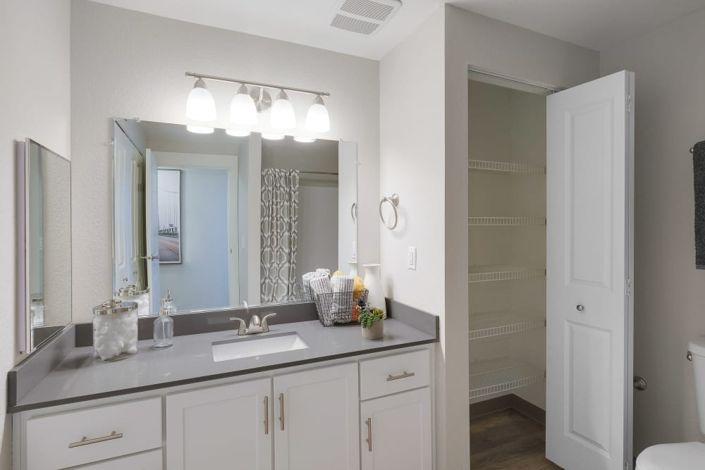 Beautiful ensuite bathroom at Centro Apartment Homes in Hillsboro, Oregon