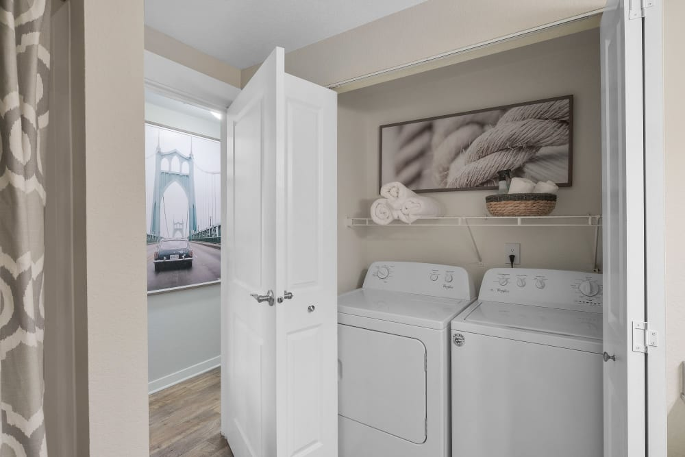 Centro Apartment Homes offers a washer and dryer closet in Hillsboro, Oregon