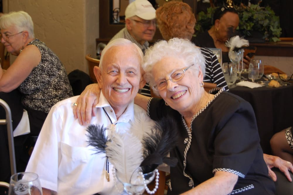 A resident couple pose for a picture at Merrill Gardens at Green Valley Ranch in Henderson, Nevada.