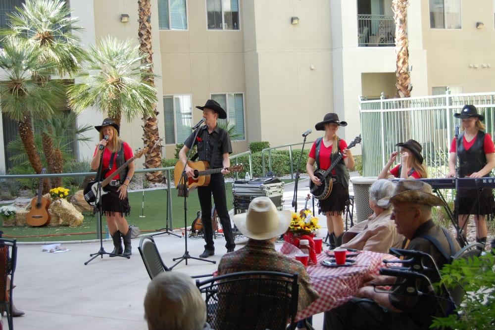 Live music at Merrill Gardens at Green Valley Ranch in Henderson, Nevada.