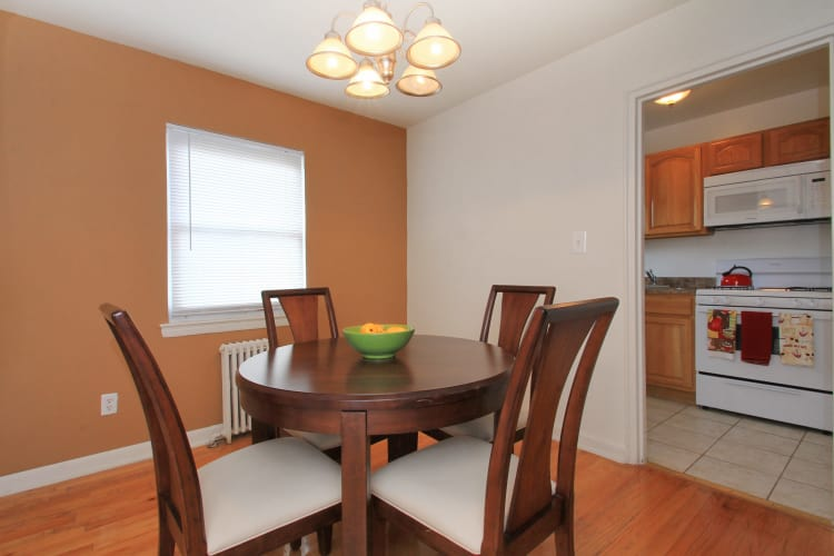 Dining room at apartments in Elmwood Park, New Jersey