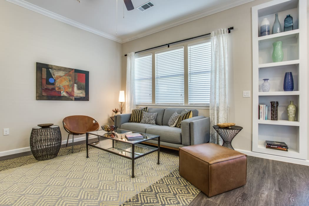 Spacious living room at Avilla Northside in McKinney, Texas