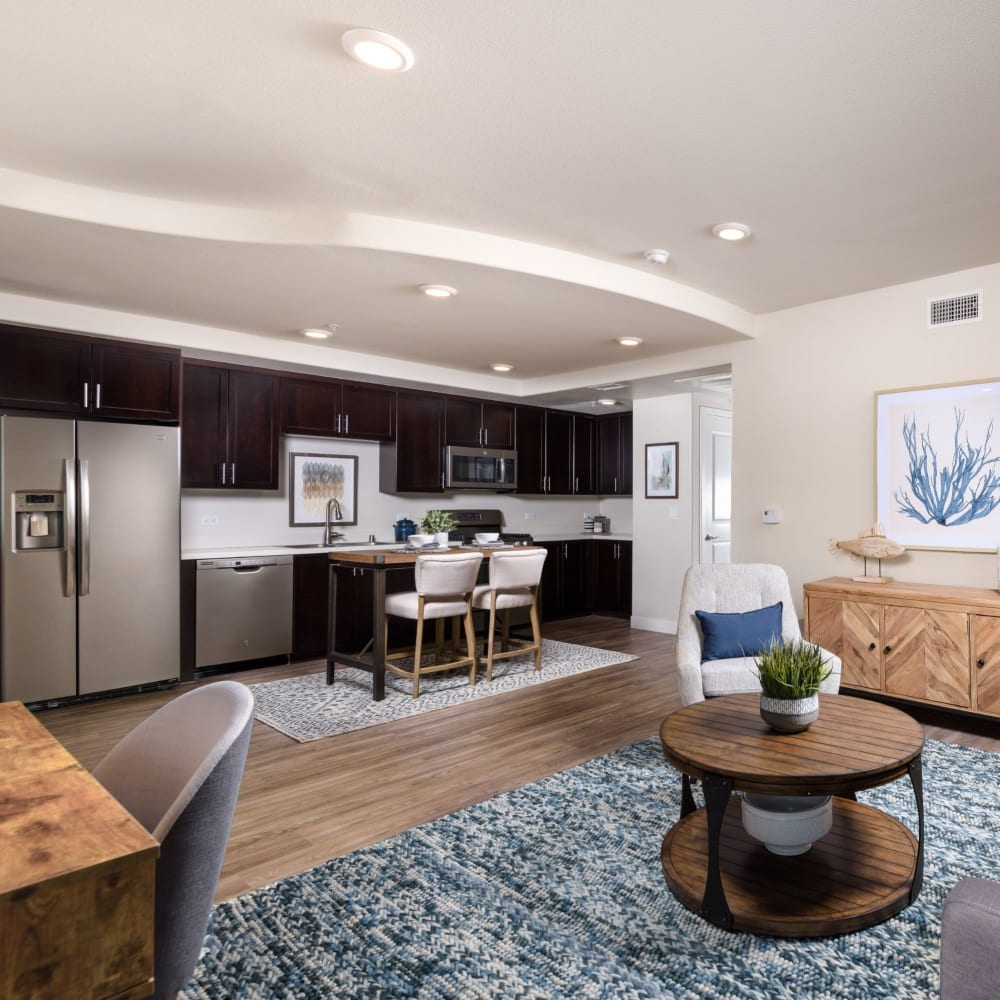 Living room space at Portside Ventura Harbor in Ventura, California