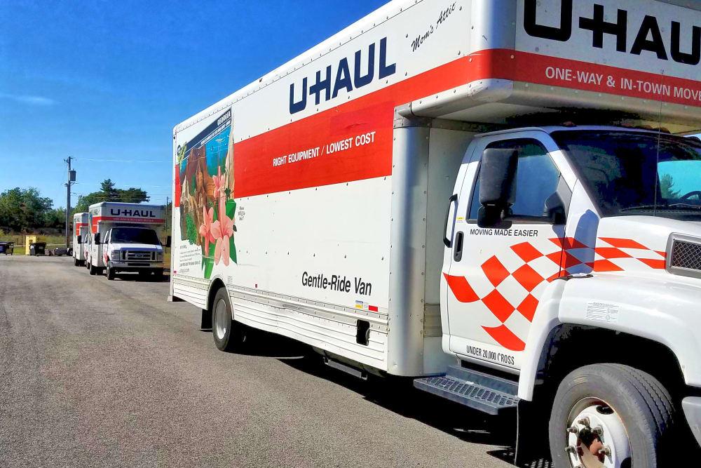 Moving trucks at Prime Storage in Berwick, Maine