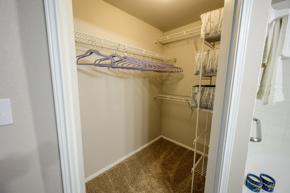 Model home's large walk-in closet at 23Hundred @ Ridgeview in Plano, Texas
