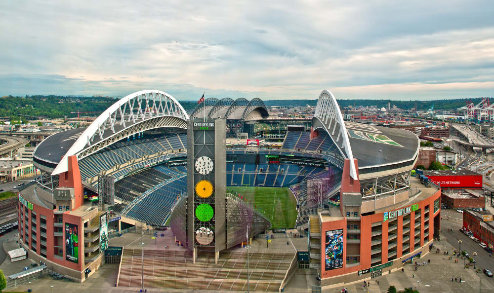 Aerial view of the neighborhood near The Wave at Stadium Place in Seattle, Washington