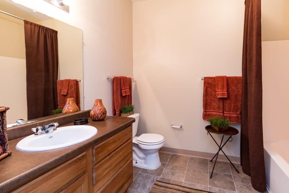 Bathroom layout at San Miguel del Bosque in Albuquerque, New Mexico