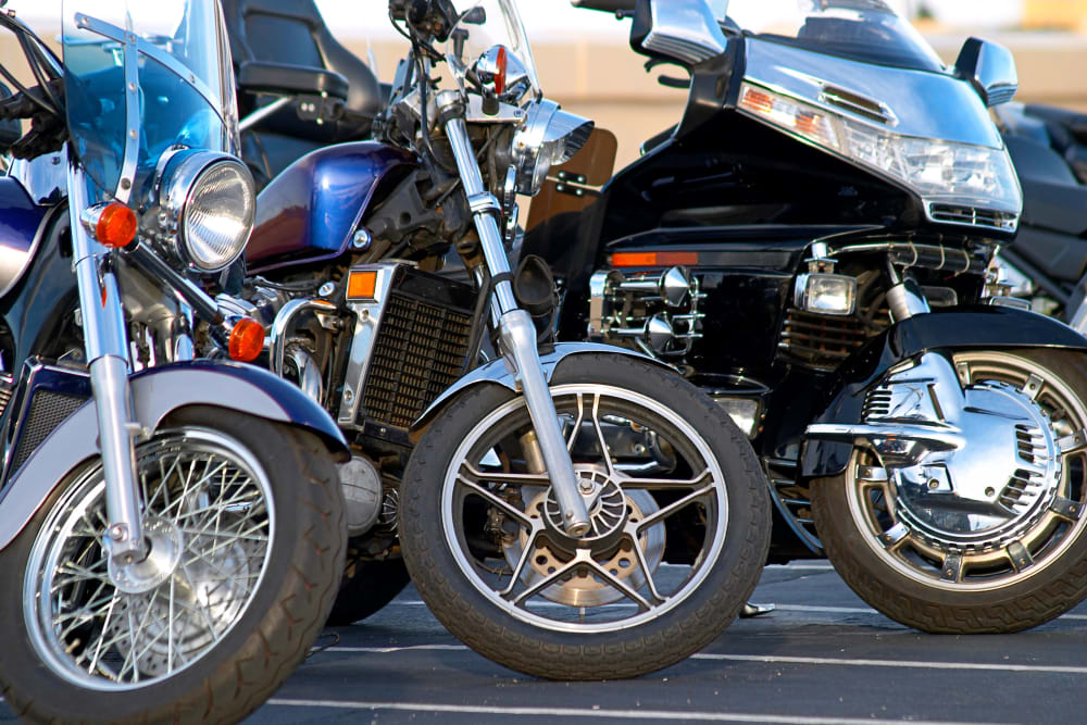 Motorcycles parked at Box Self Storage in Junction City, Kansas
