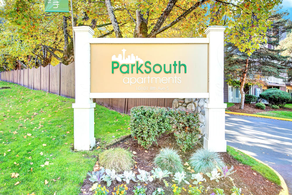 The front monument sign at Park South Apartments in Seattle, Washington