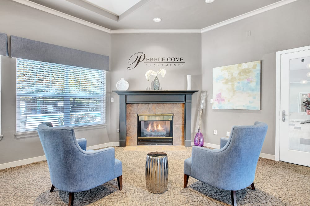 Clubhouse fireplace at Pebble Cove Apartments in Renton, Washington