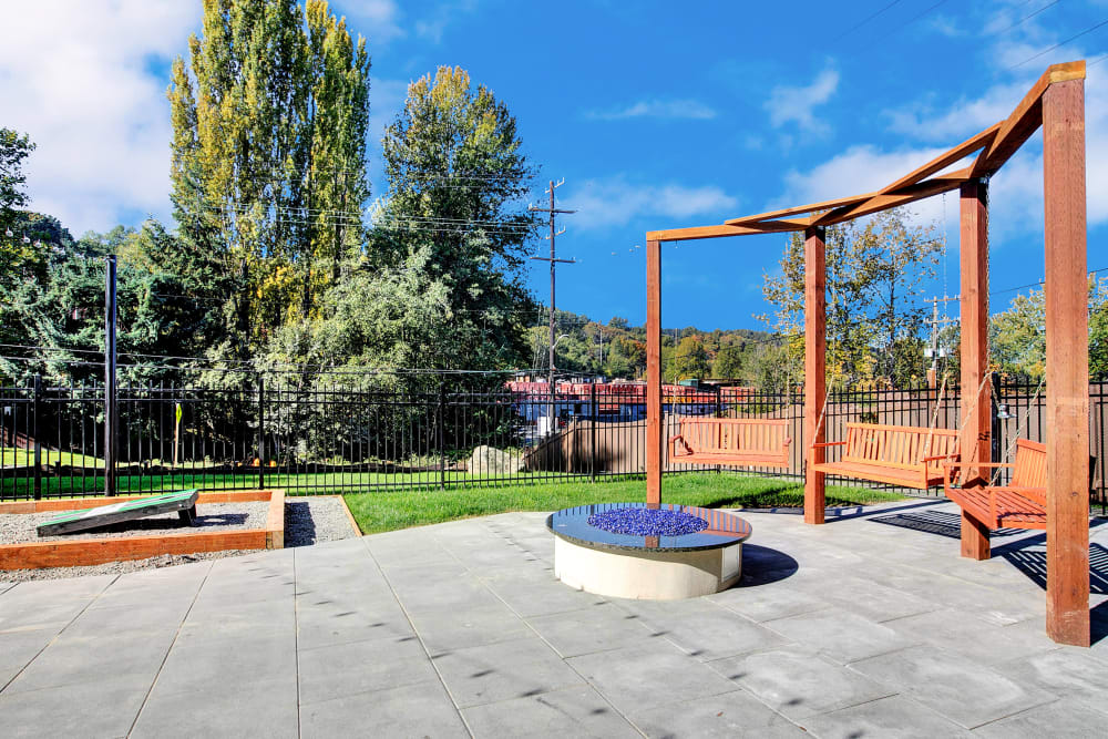 Corn hole near the fire pit area at Park South Apartments in Seattle, Washington