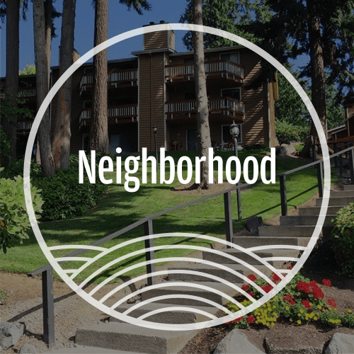 View the neighborhood at Surprise Lake Village in Milton, Washington