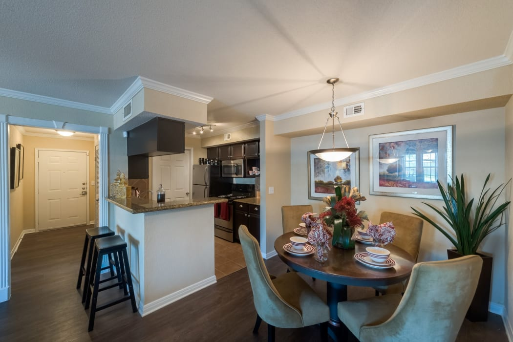 Kitchen and dining room combo at The Paramount