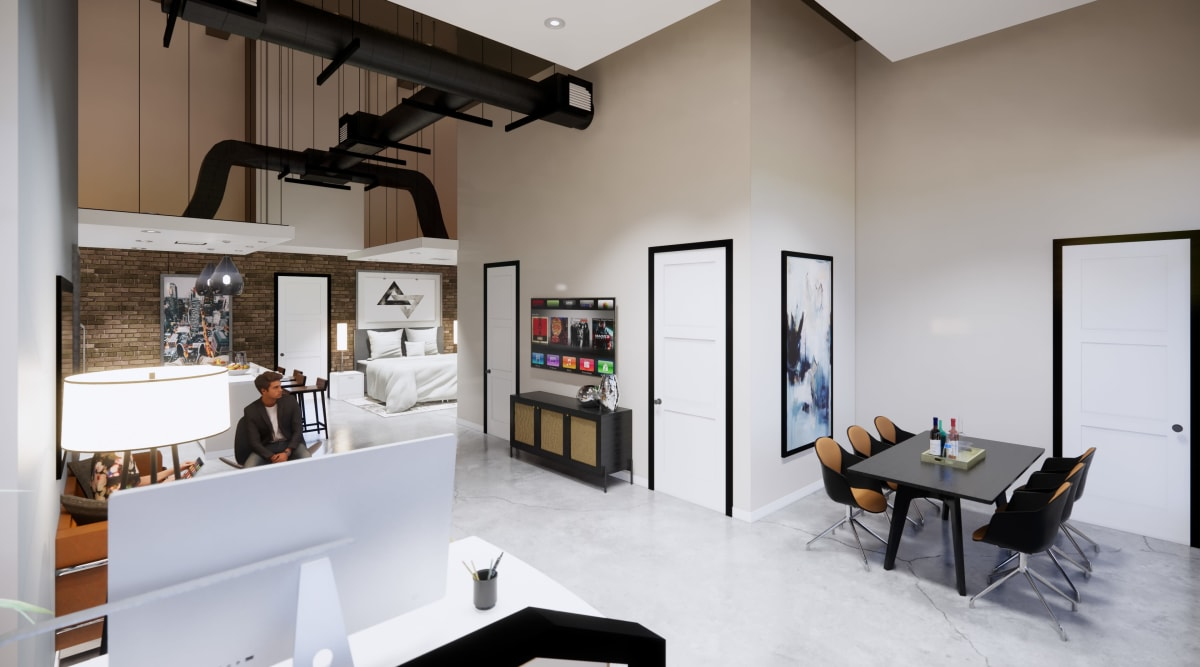 Spacious open-concept floor-plan in a live-work studio at Brio Apartment Homes in Glendale, California