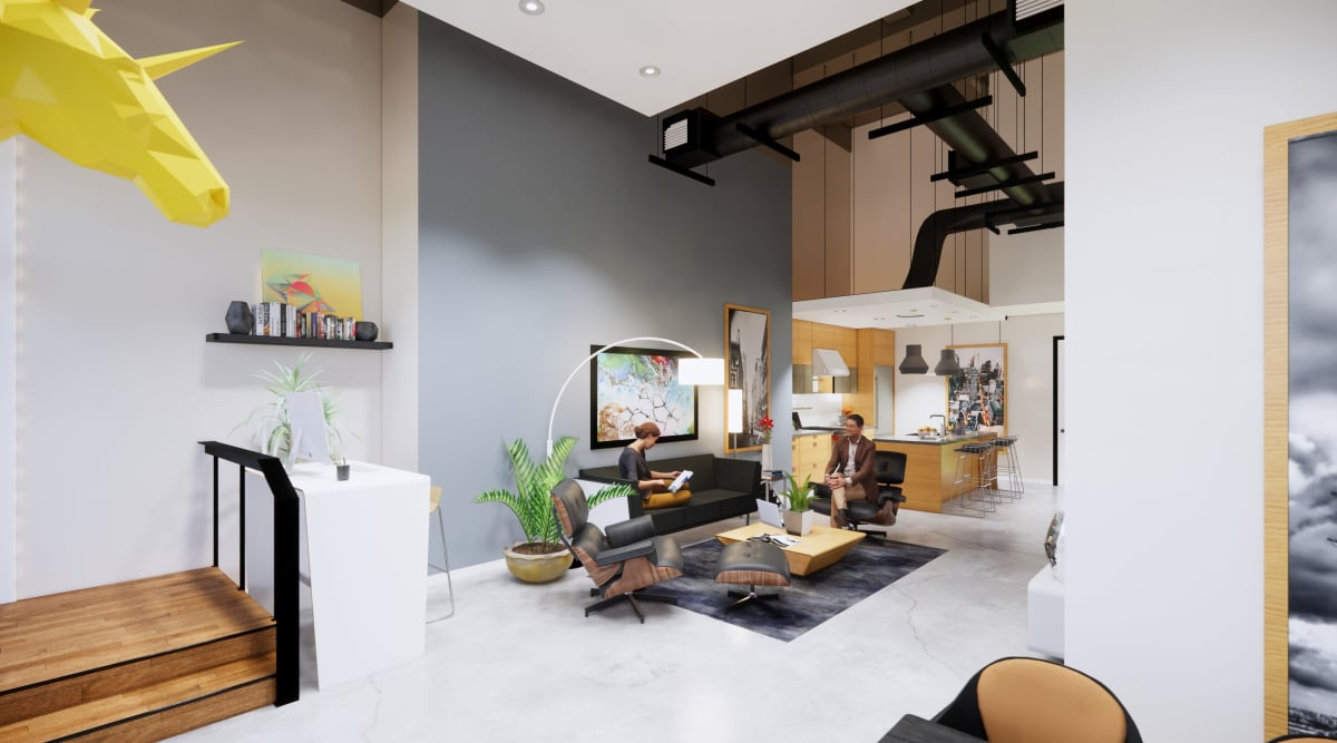 Spacious living room at Brio Apartment Homes in Glendale, California