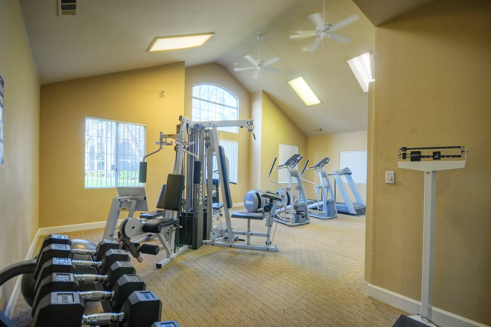 Onsite fitness center at Larkspur Woods in Sacramento, California