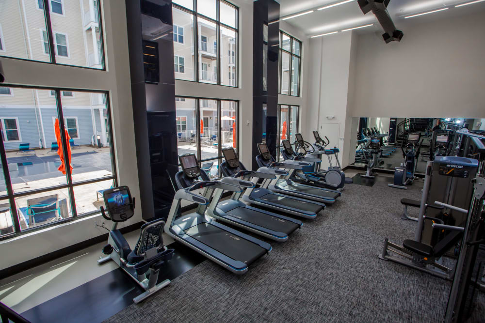 Modern equipment in Spacious Fitness Center at The Mark Parsippany in Parsippany, New Jersey