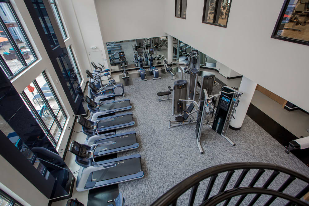 Fitness Center equipment in spacious center at The Mark Parsippany in Parsippany, New Jersey