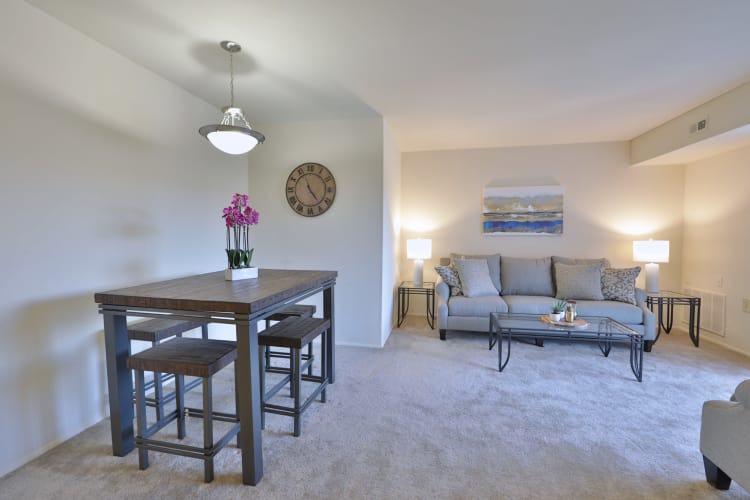 The Willows Apartment Homes in Glen Burnie, Maryland showcase a spacious dining and living room