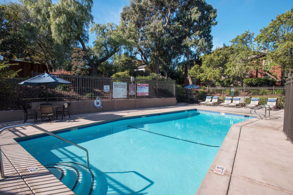 Resort-style spa and swimming pool at Sterling Heights Apartment Homes in Benicia, California