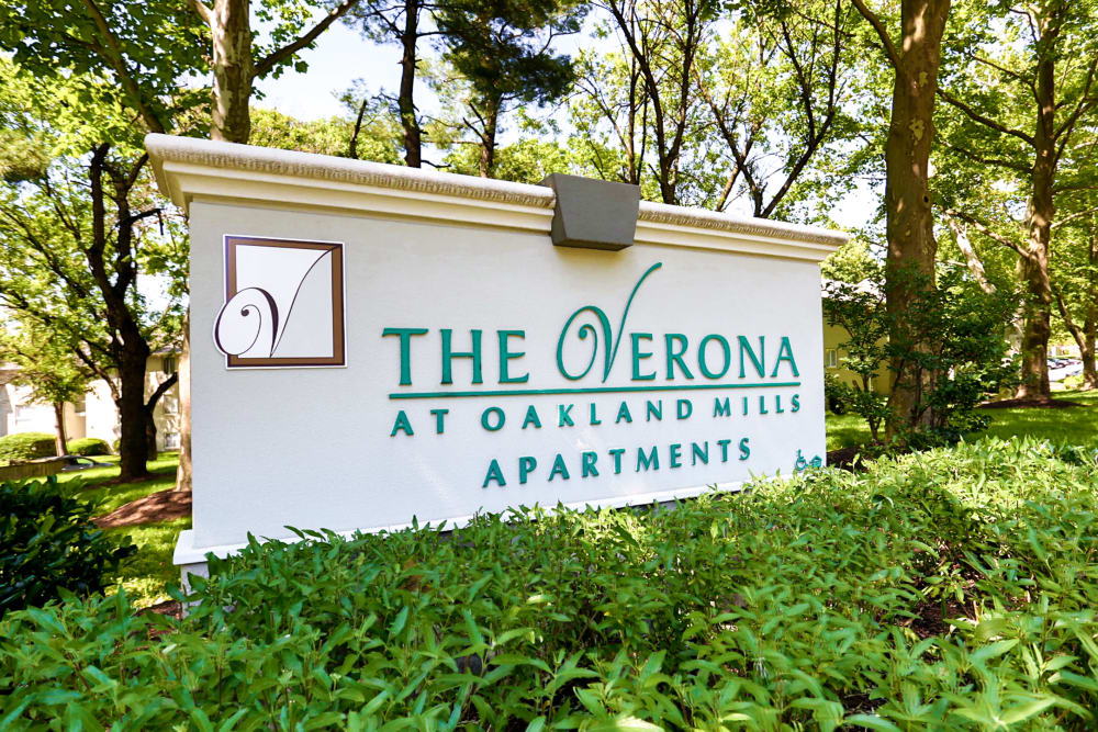 Sign for The Verona at Oakland Mills