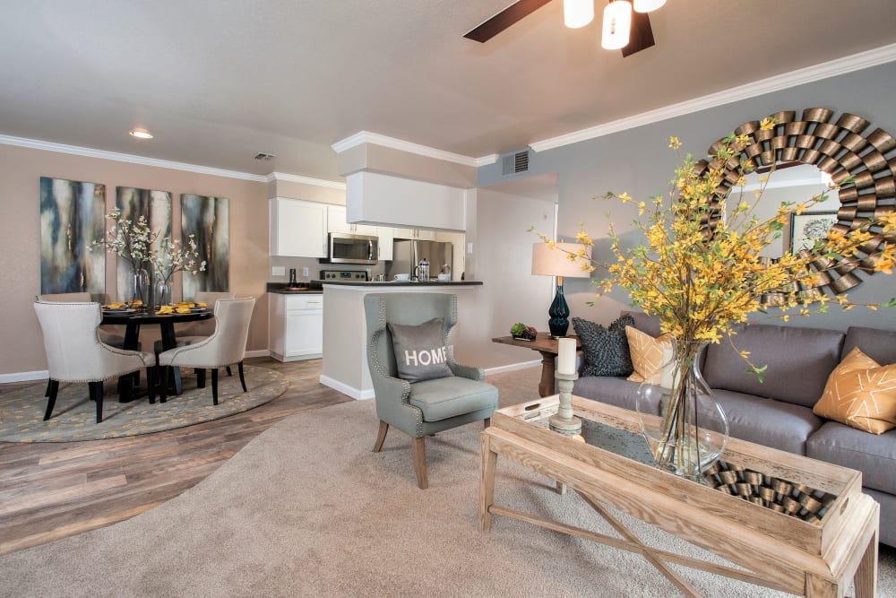 Spacious open-concept floor plan at Reserve at Capital Center Apartment Homes in Rancho Cordova, California