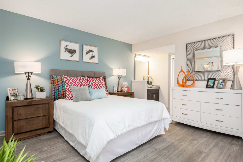 Bedroom in model home at Siena Apartments in Plantation, Florida