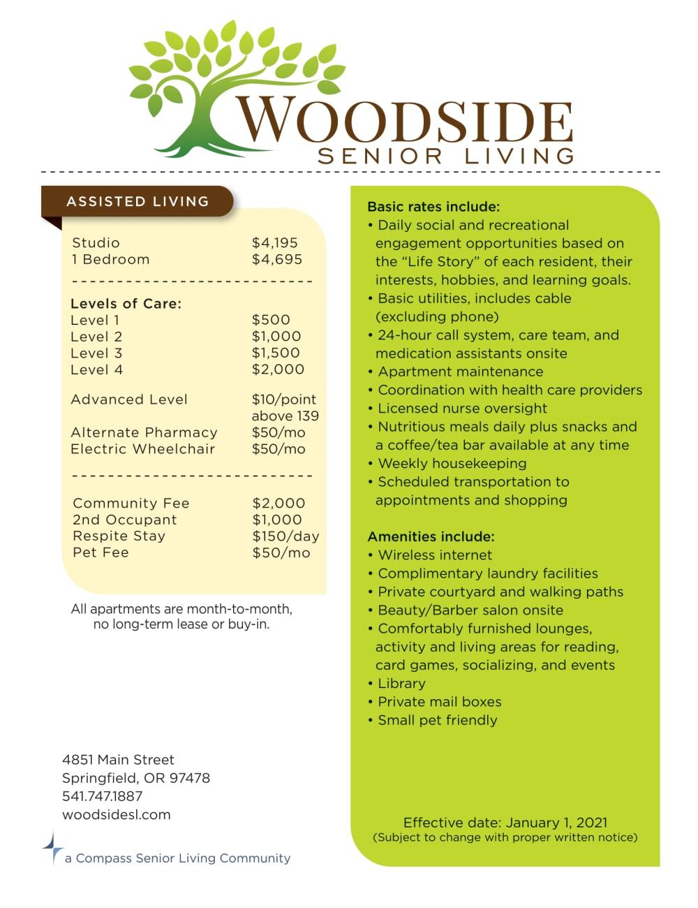 Woodside Senior Living rates