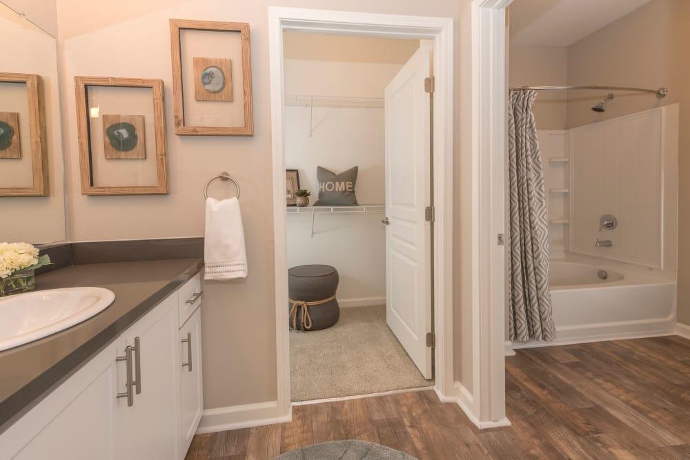 Spacious bathroom at apartments in Sacramento, California
