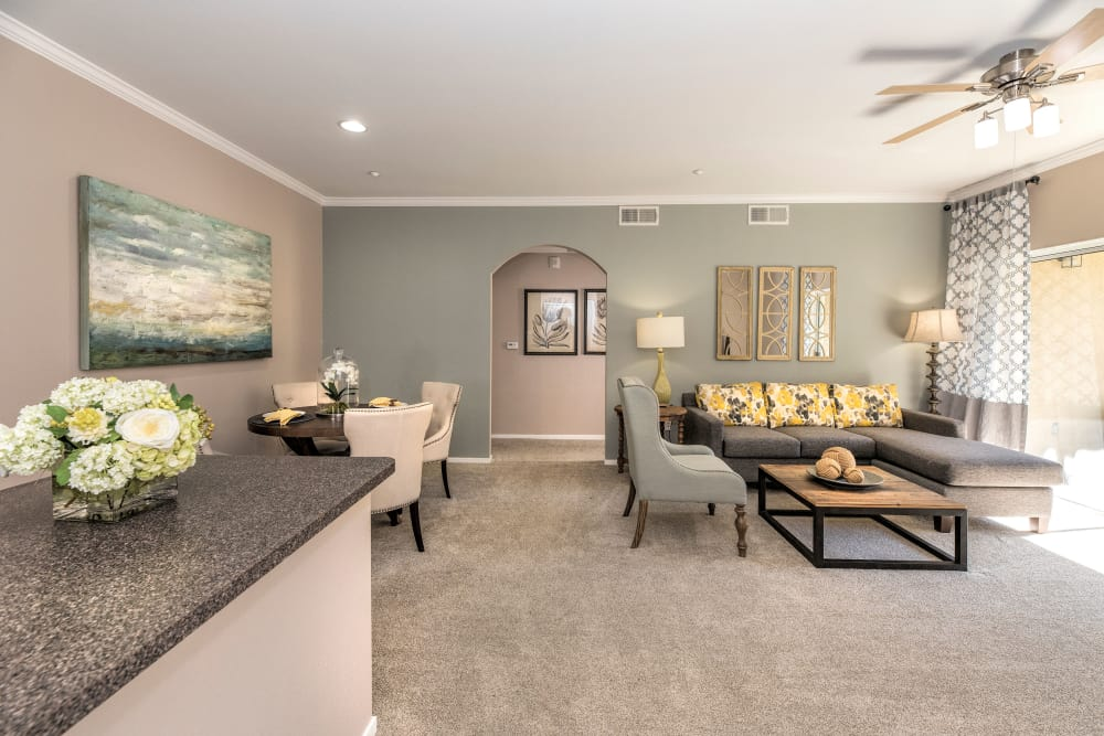 Naturally well-lit living room at Cross Pointe Apartment Homes in Antioch, California