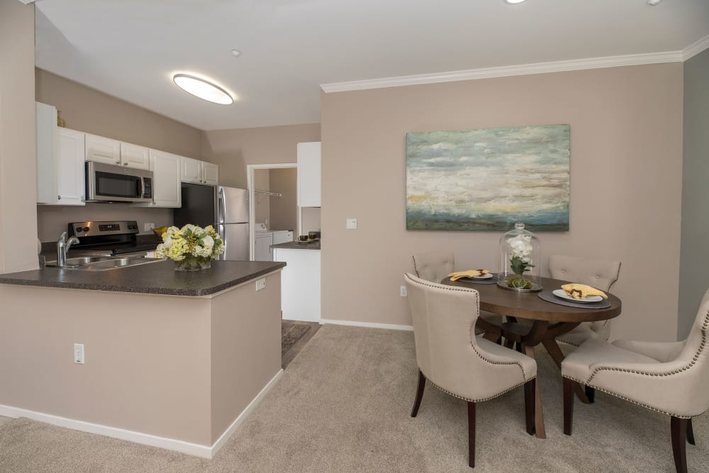 Beautiful kitchen next to the dining room at Cross Pointe Apartment Homes in Antioch, California