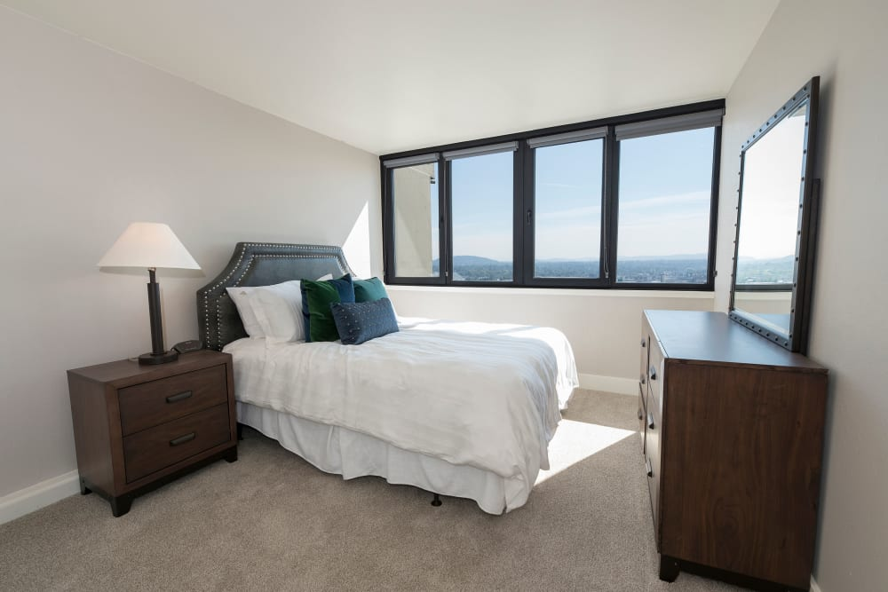 Model bedroom at Harrison Tower in Portland, Oregon